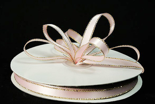 """1/4""""x50 yard Light Pink Satin Gift Ribbon with Gold/Silver Edge - Pack of 20 Rolls"""