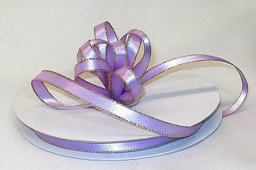 "1/4""x50 yard Lavender Satin Gift Ribbon with Gold/Silver Edge - Pack of 20 Rolls"