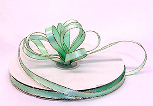 "1/4""x50 yard Mint Green Satin Gift Ribbon with Gold/Silver Edge - Pack of 20 Rolls"