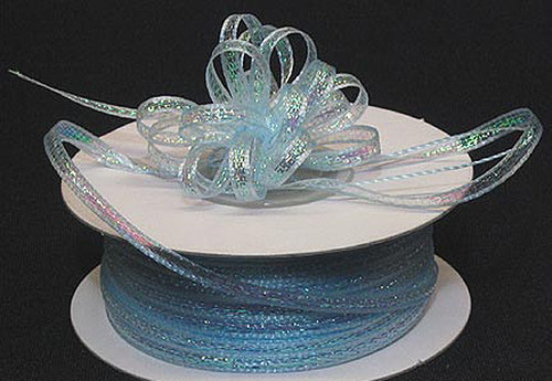 "1/4""x50 yards Light Blue Organza Pull Bows Ribbon with Iridescent Edge - Pack of 6 Rolls"