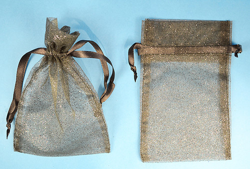 "3""x4"" Black Sheer Organza Bags with Glitter - Pack of 72"