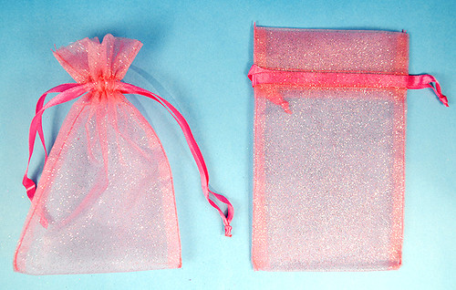 "3""x4"" Coral Sheer Organza Bags with Glitter - Pack of 72"
