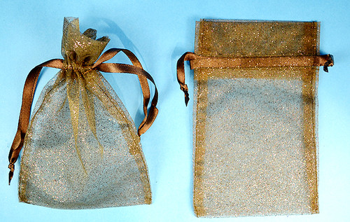 "3""x4"" Brown Sheer Organza Bags with Glitter - Pack of 72"