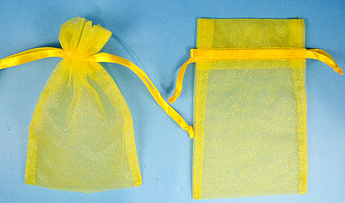 "3""x4"" Dark Yellow Sheer Organza Bags with Glitter - Pack of 72"