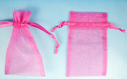 "3""x4"" Fuchsia Sheer Organza Bags with Glitter - Pack of 72"