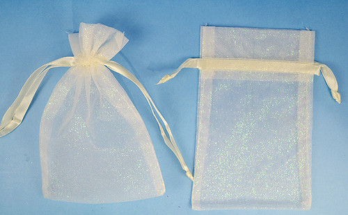 "3""x4"" Ivory Sheer Organza Bags with Glitter - Pack of 72"