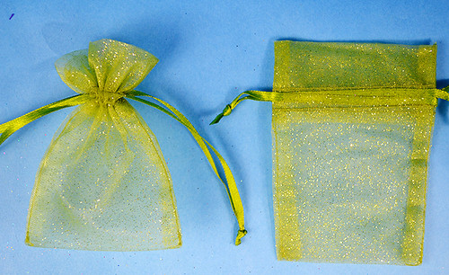 "3""x4"" Olive Sheer Organza Bags with Glitter - Pack of 72"