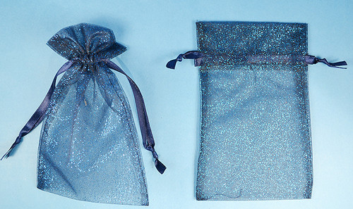 "3""x4"" Navy Blue Sheer Organza Bags with Glitter - Pack of 72"