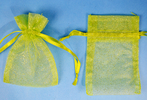 "4""x6"" Apple Green Sheer Organza Bags with Glitter - Pack of 72"