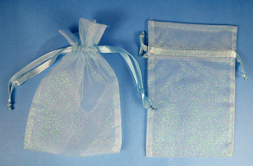 "4""x6"" Blue Sheer Organza Bags with Glitter - Pack of 72"