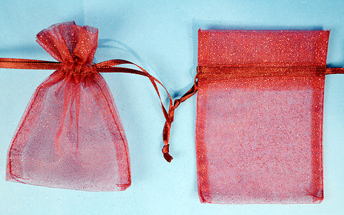 "4""x6"" Burgundy Sheer Organza Bags with Glitter - Pack of 72"