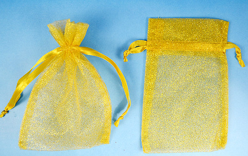 "4""x6"" Gold Sheer Organza Bags with Glitter - Pack of 72"