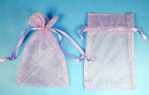 "4""x6"" Lavender Sheer Organza Bags with Glitter - Pack of 72"
