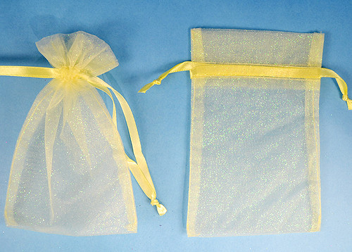 "4""x6"" Light Yellow Sheer Organza Bags with Glitter - Pack of 72"
