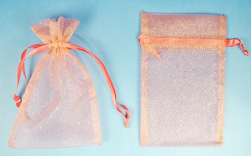 "4""x6"" Pink Sheer Organza Bags with Glitter - Pack of 72"