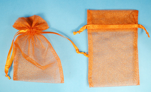 "4""x6"" Orange Sheer Organza Bags with Glitter - Pack of 72"