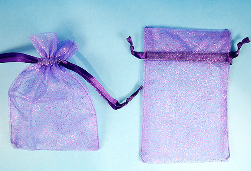 "4""x6"" Purple Sheer Organza Bags with Glitter - Pack of 72"
