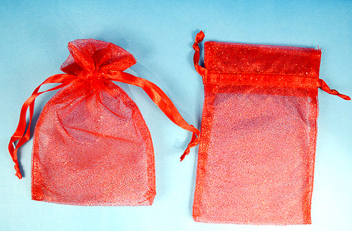 "4""x6"" Red Sheer Organza Bags with Glitter - Pack of 72"
