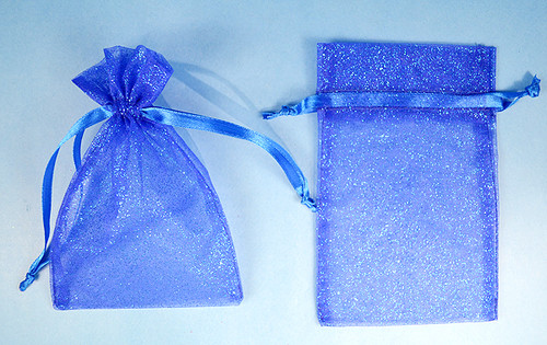 "4""x6"" Royal Blue Sheer Organza Bags with Glitter - Pack of 72"