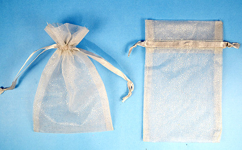 "4""x6"" Silver Sheer Organza Bags with Glitter - Pack of 72"