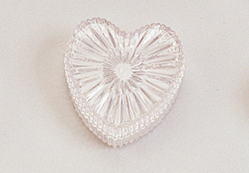 "2 3/4"" Clear Carved Heart Shape Favor Box"