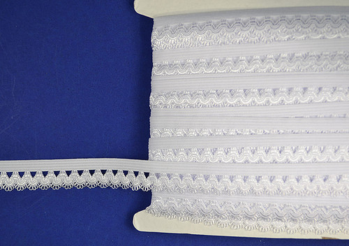 "5/8""x 30 Yards White Stretch Lace Trim - 5 Packs Elastic Trim"