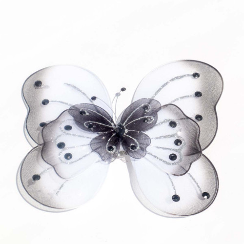 """8"""" Black Large Wired Organza Butterfly - Pack of 10"""