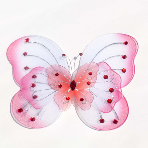 """8"""" Coral Large Wired Organza Butterfly - Pack of 10"""