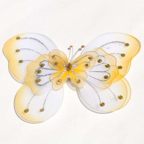 """8"""" Dark Yellow Large Wired Organza Butterfly - Pack of 10"""