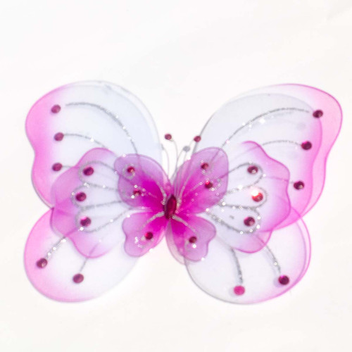 """8"""" Fuchsia Large Wired Organza Butterfly - Pack of 10"""