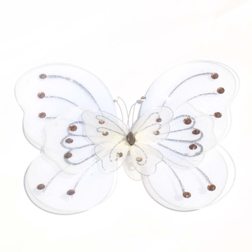 """8"""" Ivory Large Wired Organza Butterfly - Pack of 10"""