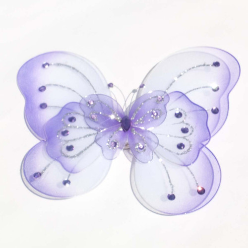 """8"""" Lavender Large Wired Organza Butterfly - Pack of 10"""