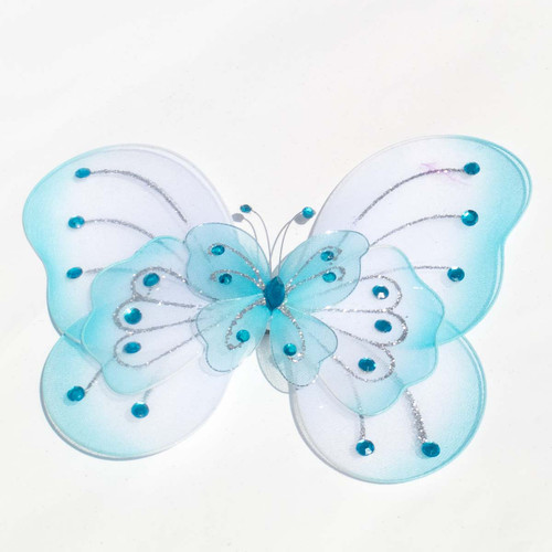 """8"""" Light Blue Large Wired Organza Butterfly - Pack of 10"""
