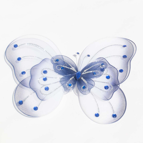 """8"""" Navy Blue Large Wired Organza Butterfly - Pack of 10"""