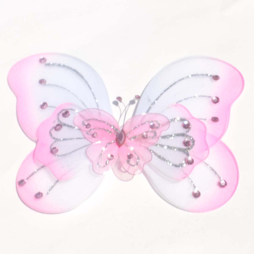 """8"""" Pink Large Wired Organza Butterfly - Pack of 10"""