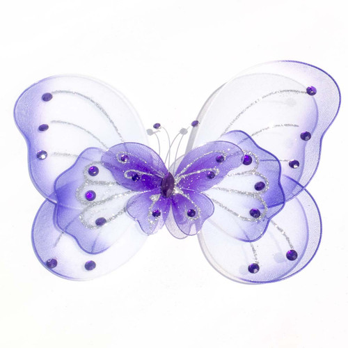 """8"""" Purple Large Wired Organza Butterfly - Pack of 10"""