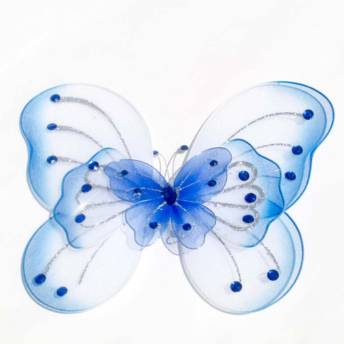 """8"""" Royal Blue Large Wired Organza Butterfly - Pack of 10"""
