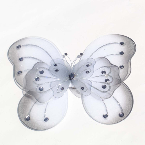 """8"""" Silver Large Wired Organza Butterfly - Pack of 10"""