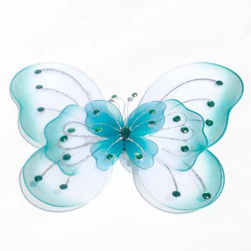 """8"""" Teal Large Wired Organza Butterfly - Pack of 10"""