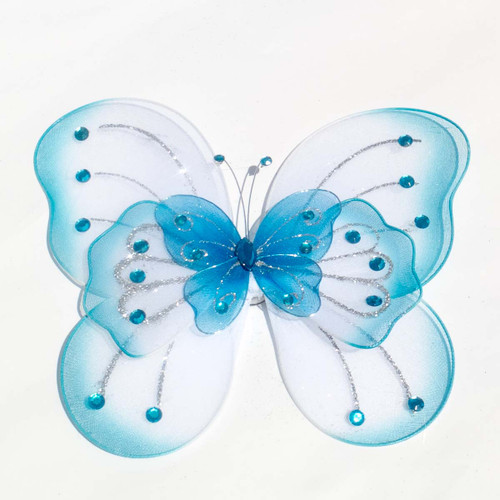 """8"""" Turquoise Large Wired Organza Butterfly - Pack of 10"""