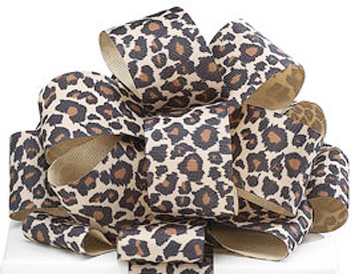 "1.5""x 10 yards Leopard Animal Print Grosgrain Gift Ribbon - Pack of 5 Rolls"