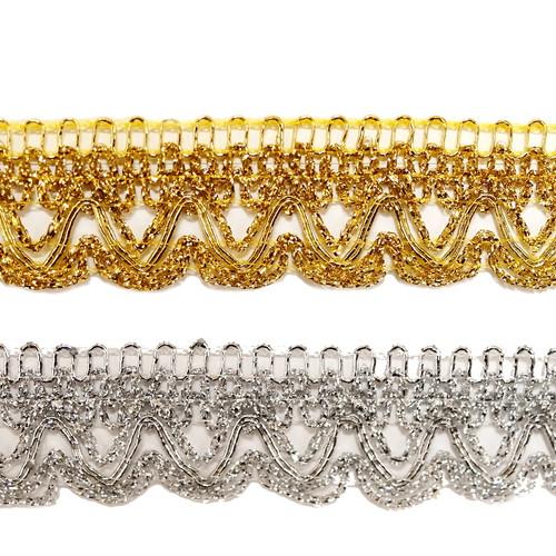 """1""""x 20 Yards Metallic Lace Trim - 5 Packs Metallic Trim 1"""