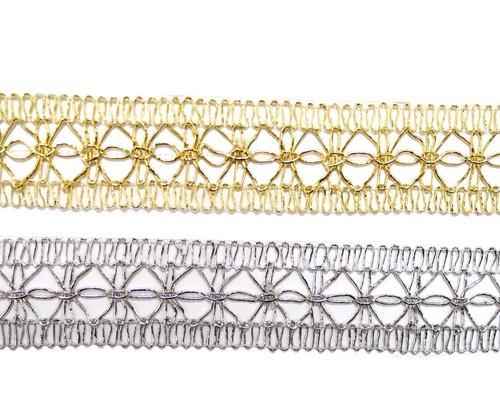 """1 1/4""""x 20 Yards Metallic Lace Trim - 5 Packs Metallic Trim"""