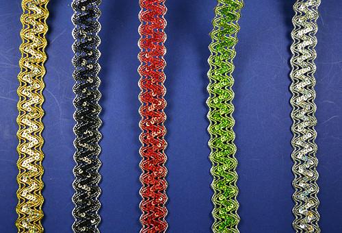 "1""x 15 Yards Metallic Lace Trim with Sequins - 5 Packs Metallic Sequin Trim"