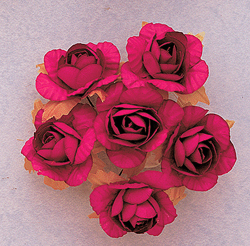 """1.25"""" Hot Pink Big Rose Paper Craft Flowers - Pack of 72"""