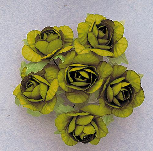 "1.25"" Olive Big Rose Paper Craft Flowers - Pack of 72"