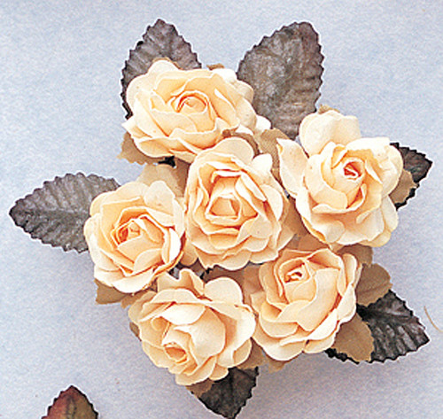 "1"" Cream Big Rose with Leaf Paper Craft Flowers - Pack of 72"