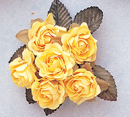 "1"" Banana Big Rose with Leaf Paper Craft Flowers - Pack of 72"
