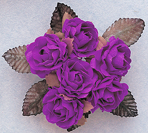 "1"" Purple Big Rose with Leaf Paper Craft Flowers - Pack of 72"