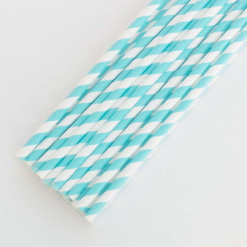 Blue Pretty Paper Straws - Pack of 200